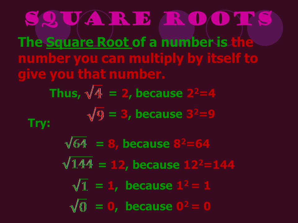 Square Roots The Square Root of a number is the number you can multiply by itself to give you that number.