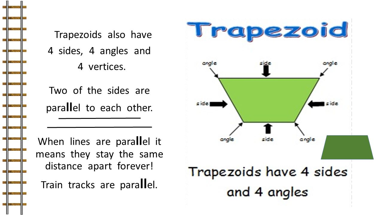 Trapezoids also have 4 sides, 4 angles and 4 vertices