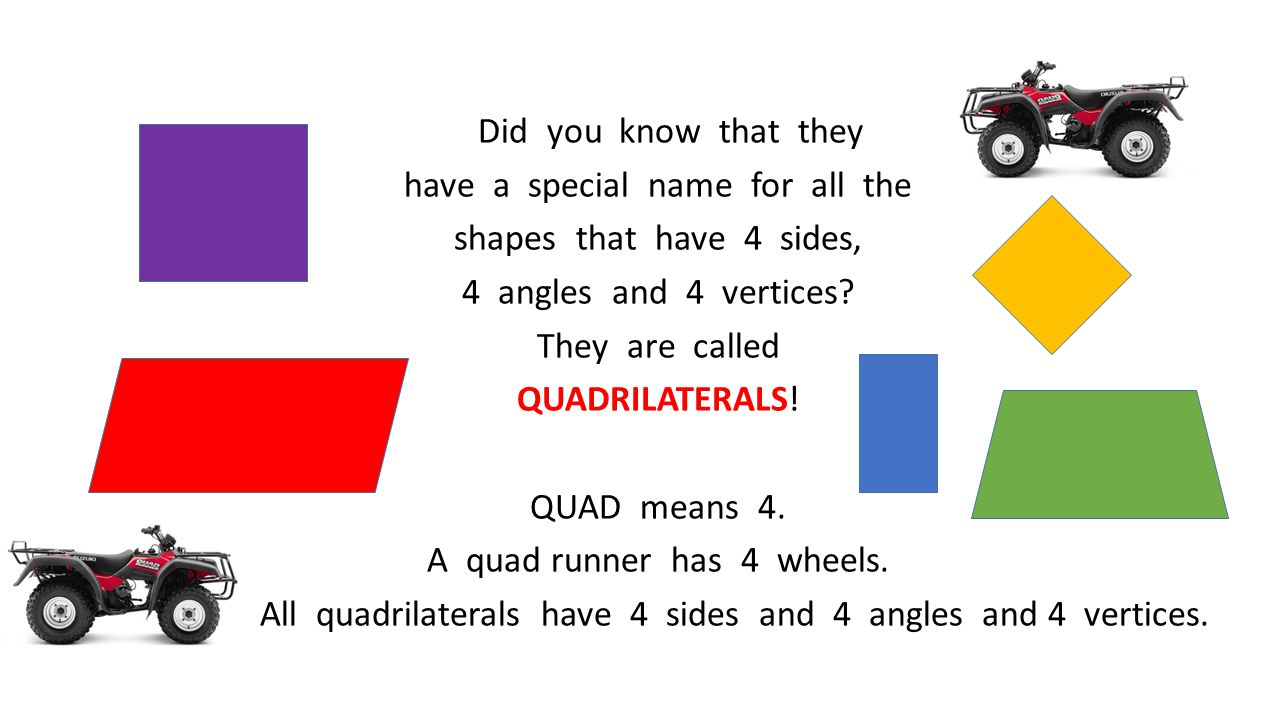 Did you know that they have a special name for all the shapes that have 4 sides, 4 angles and 4 vertices.