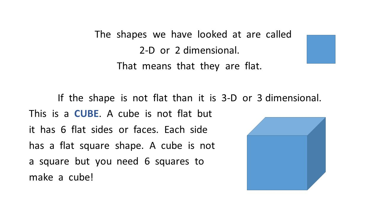 The shapes we have looked at are called 2-D or 2 dimensional