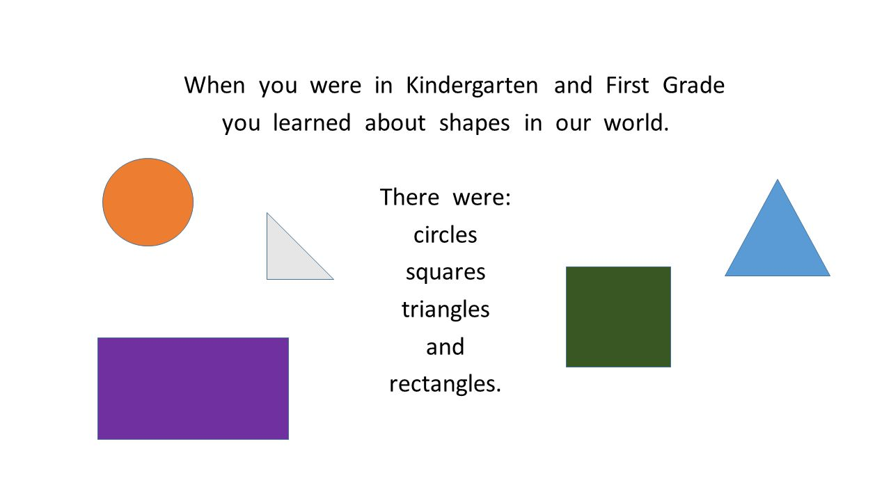 When you were in Kindergarten and First Grade you learned about shapes in our world.