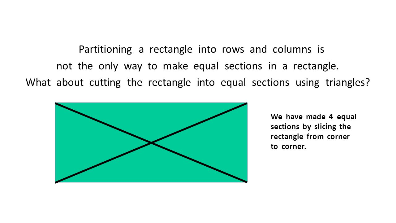 Partitioning a rectangle into rows and columns is not the only way to make equal sections in a rectangle. What about cutting the rectangle into equal sections using triangles
