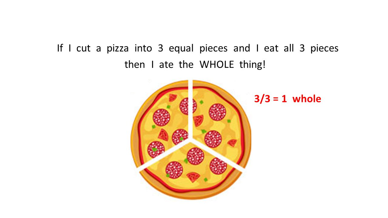If I cut a pizza into 3 equal pieces and I eat all 3 pieces then I ate the WHOLE thing!