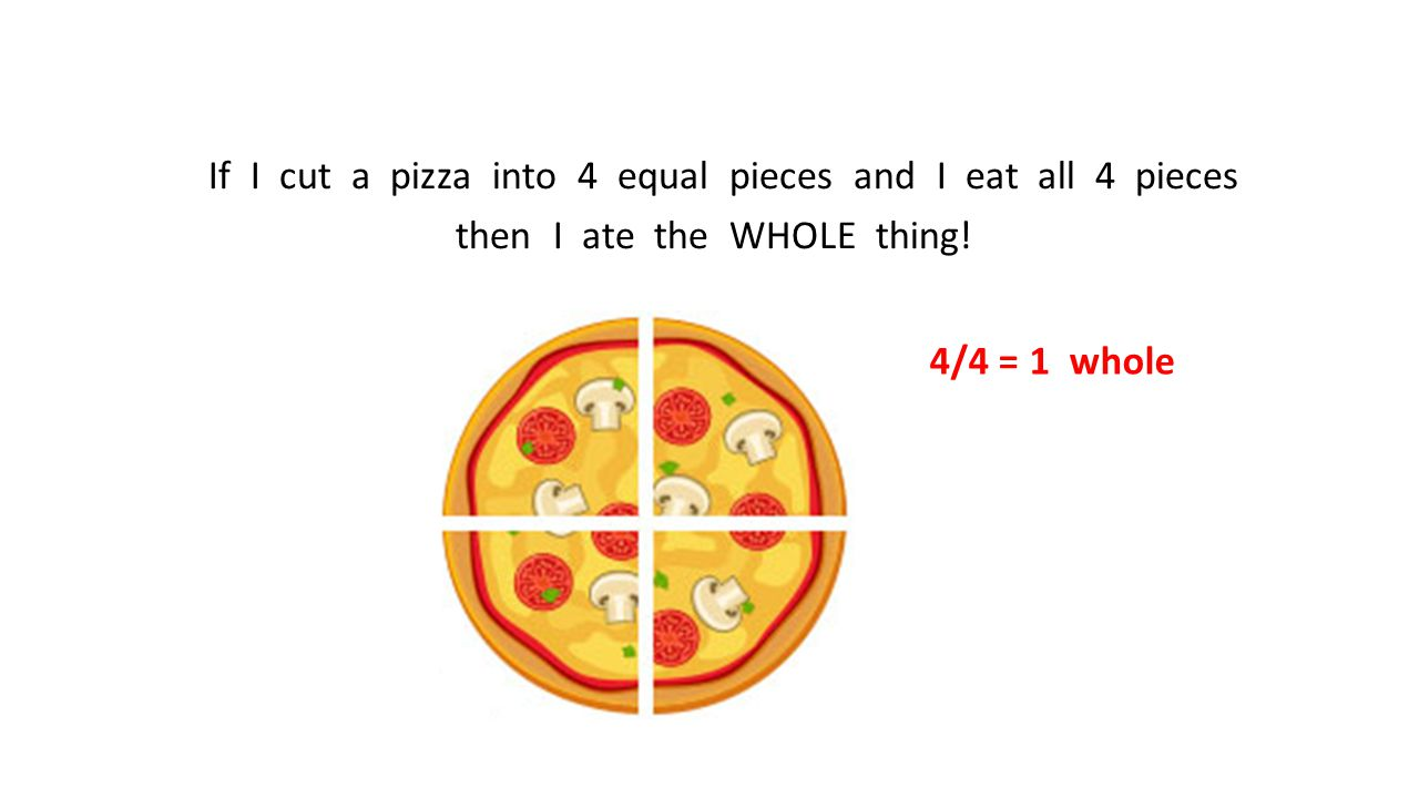 If I cut a pizza into 4 equal pieces and I eat all 4 pieces then I ate the WHOLE thing!