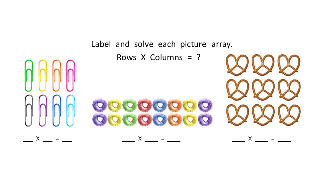 Label and solve each picture array. Rows X Columns =
