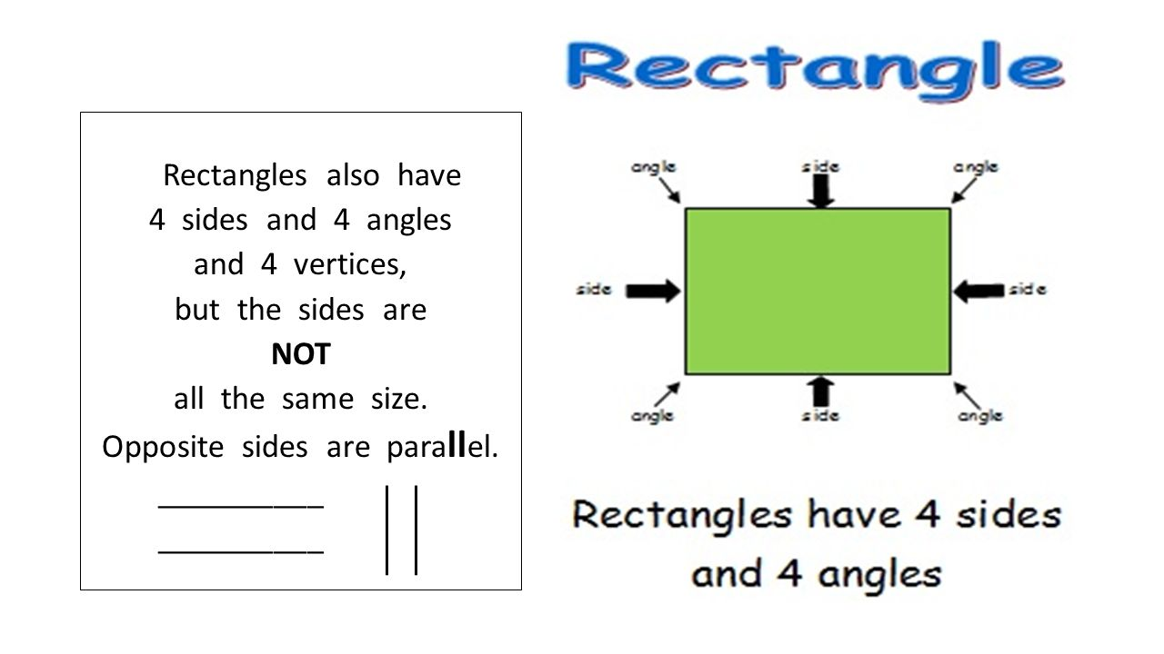 Rectangles also have 4 sides and 4 angles and 4 vertices, but the sides are NOT all the same size.