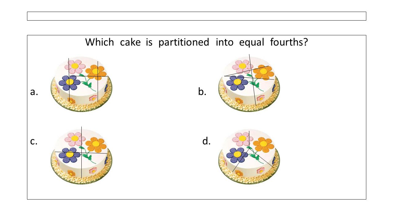 Which cake is partitioned into equal fourths