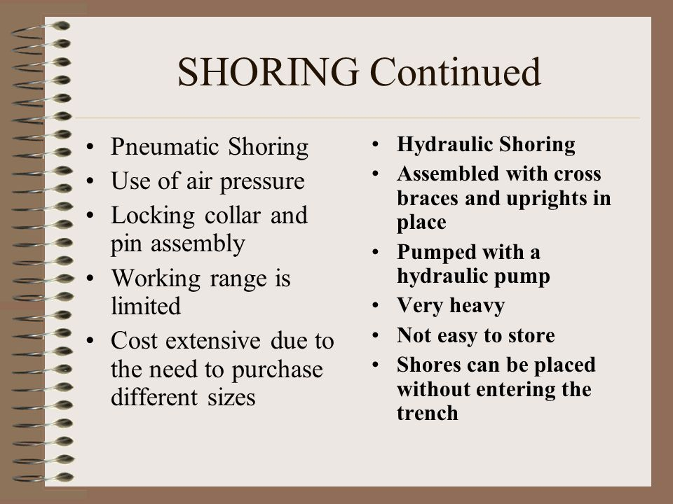 SHORING Continued Pneumatic Shoring Use of air pressure