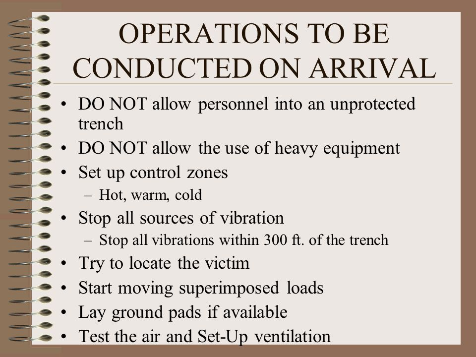 OPERATIONS TO BE CONDUCTED ON ARRIVAL