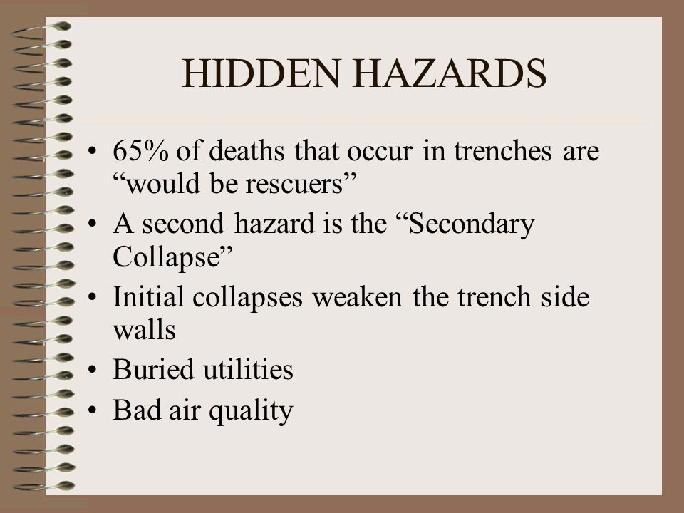 HIDDEN HAZARDS 65% of deaths that occur in trenches are would be rescuers A second hazard is the Secondary Collapse