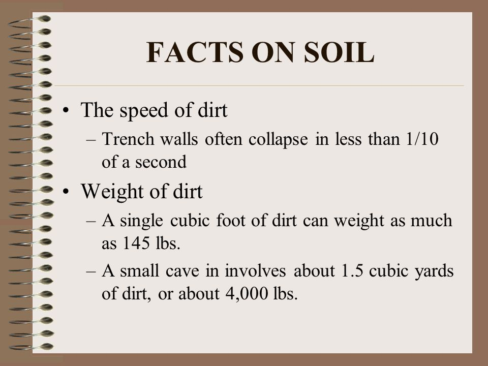 FACTS ON SOIL The speed of dirt Weight of dirt