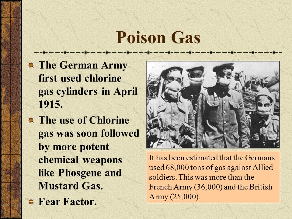 Poison Gas The German Army first used chlorine gas cylinders in April 1915.