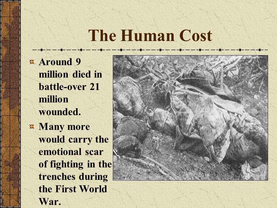 The Human Cost Around 9 million died in battle-over 21 million wounded.