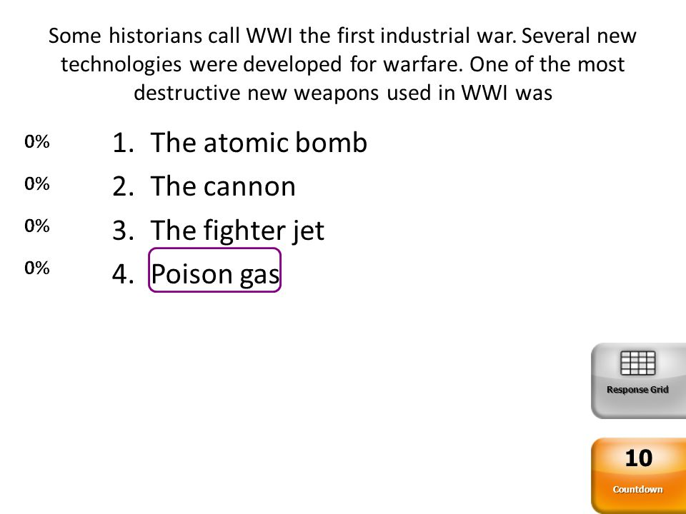 The atomic bomb The cannon The fighter jet Poison gas