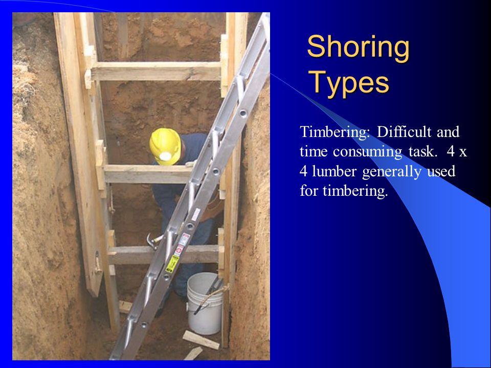 Shoring Types Timbering: Difficult and time consuming task.