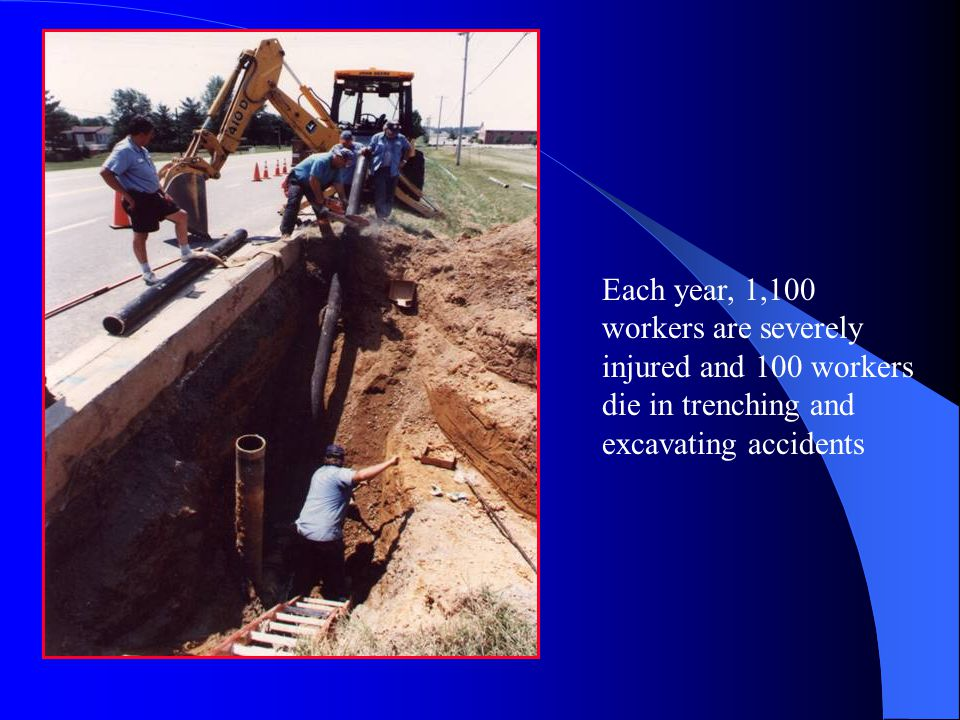 Introduction Each year, 1,100 workers are severely injured and 100 workers die in trenching and excavating accidents.