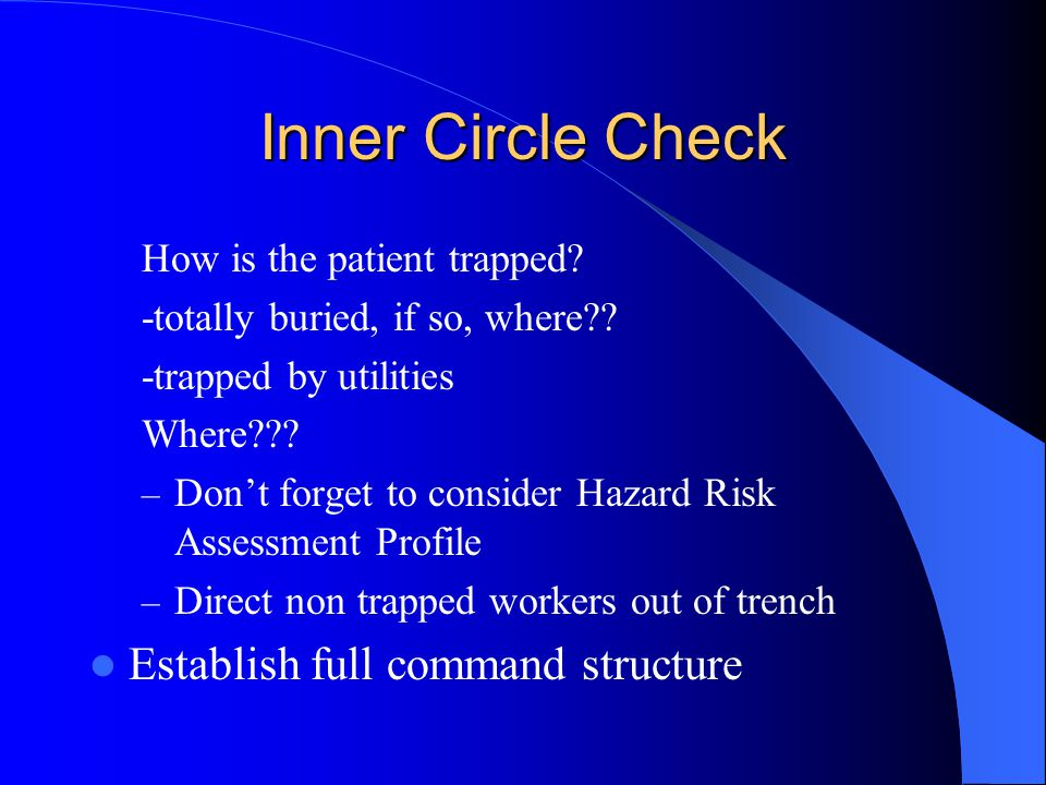 Inner Circle Check Establish full command structure