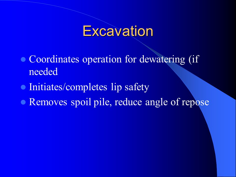 Excavation Coordinates operation for dewatering (if needed