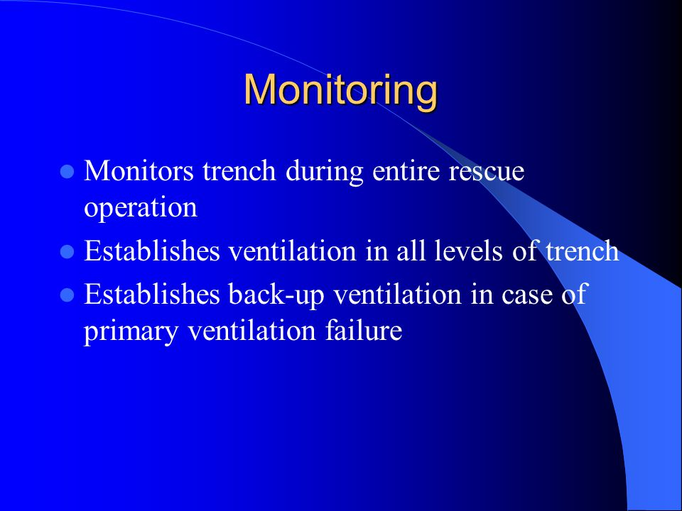 Monitoring Monitors trench during entire rescue operation