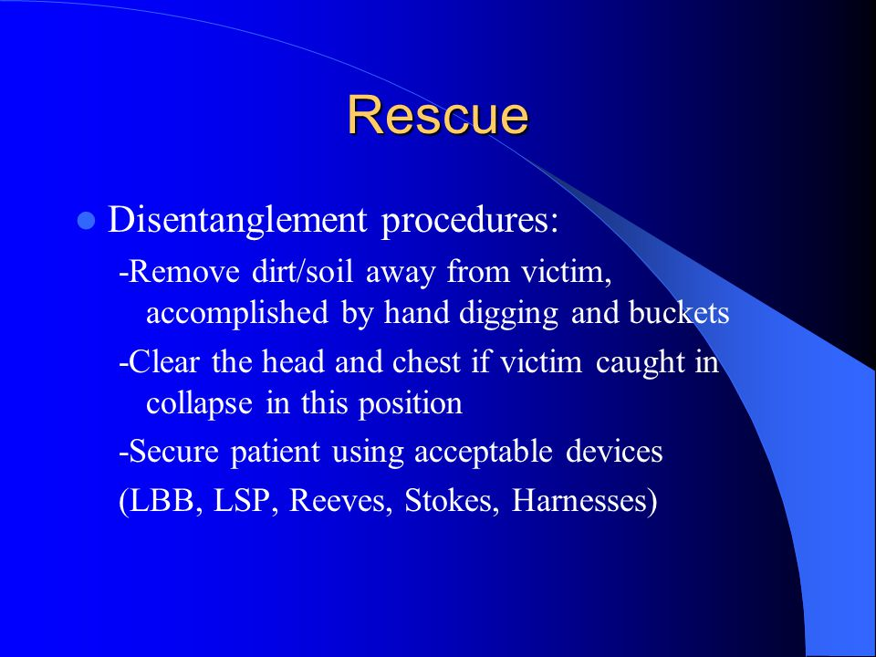 Rescue Disentanglement procedures: