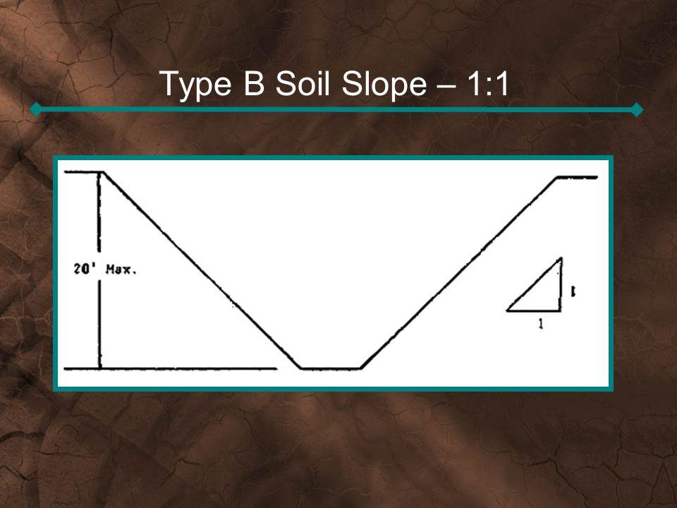 Type B Soil Slope – 1:1