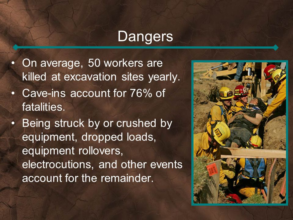 Dangers On average, 50 workers are killed at excavation sites yearly.