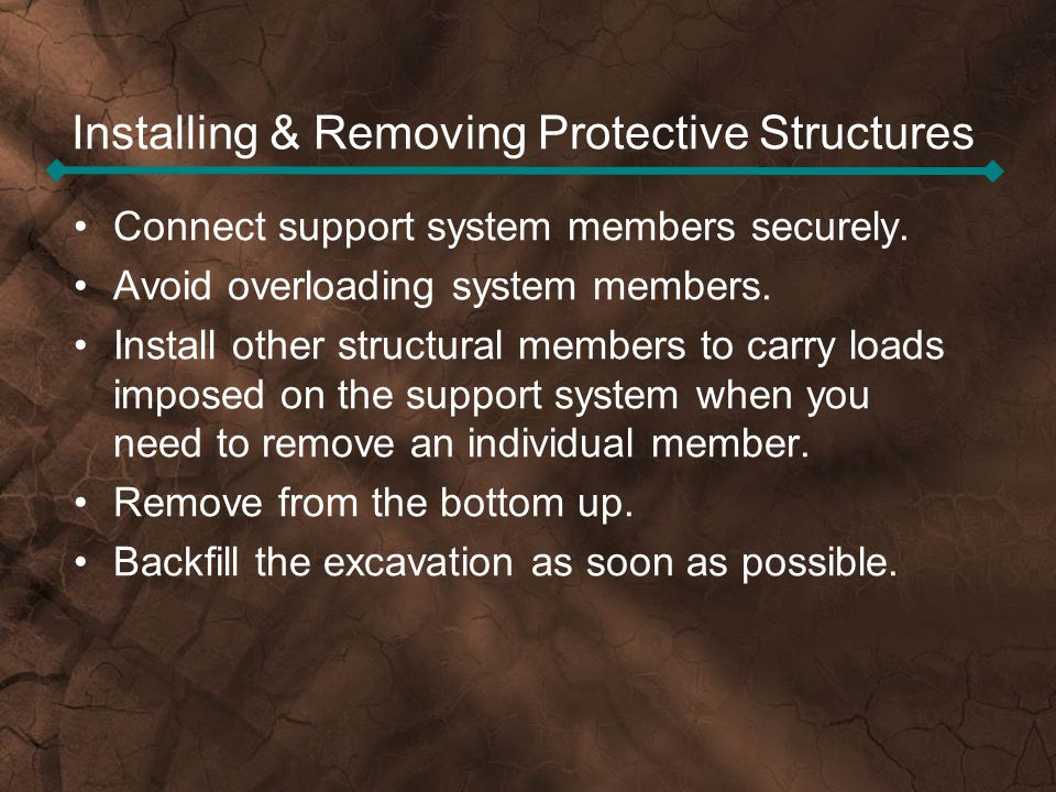 Installing & Removing Protective Structures