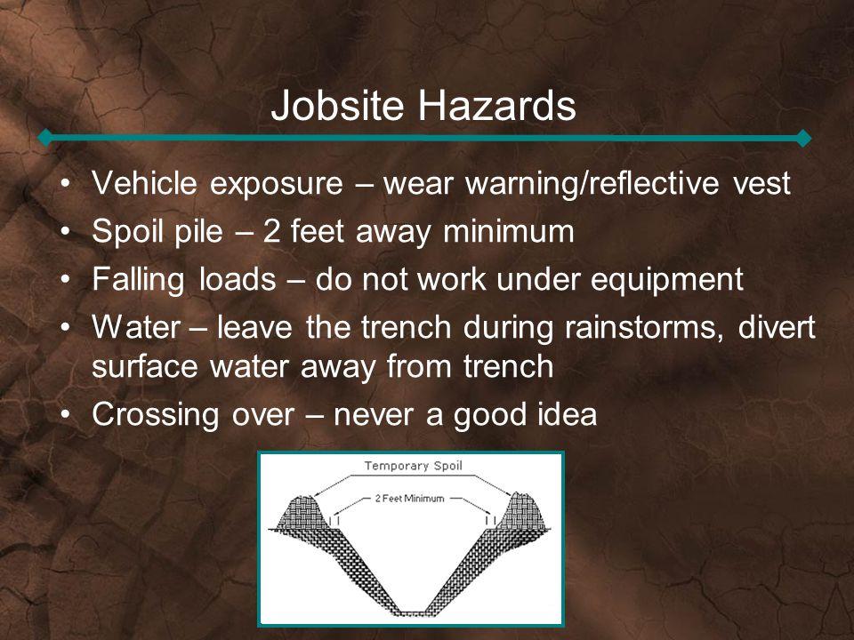 Jobsite Hazards Vehicle exposure – wear warning/reflective vest