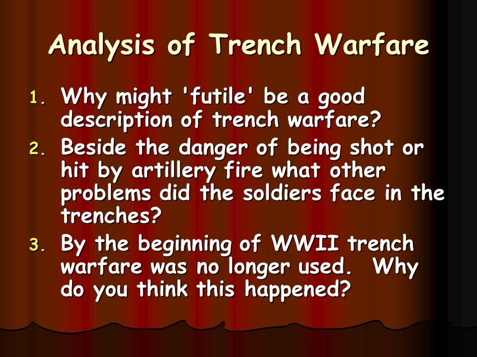 Analysis of Trench Warfare