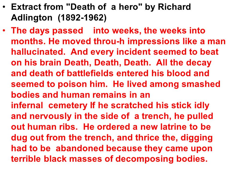 Extract from Death of a hero by Richard Adlington (1892-1962)