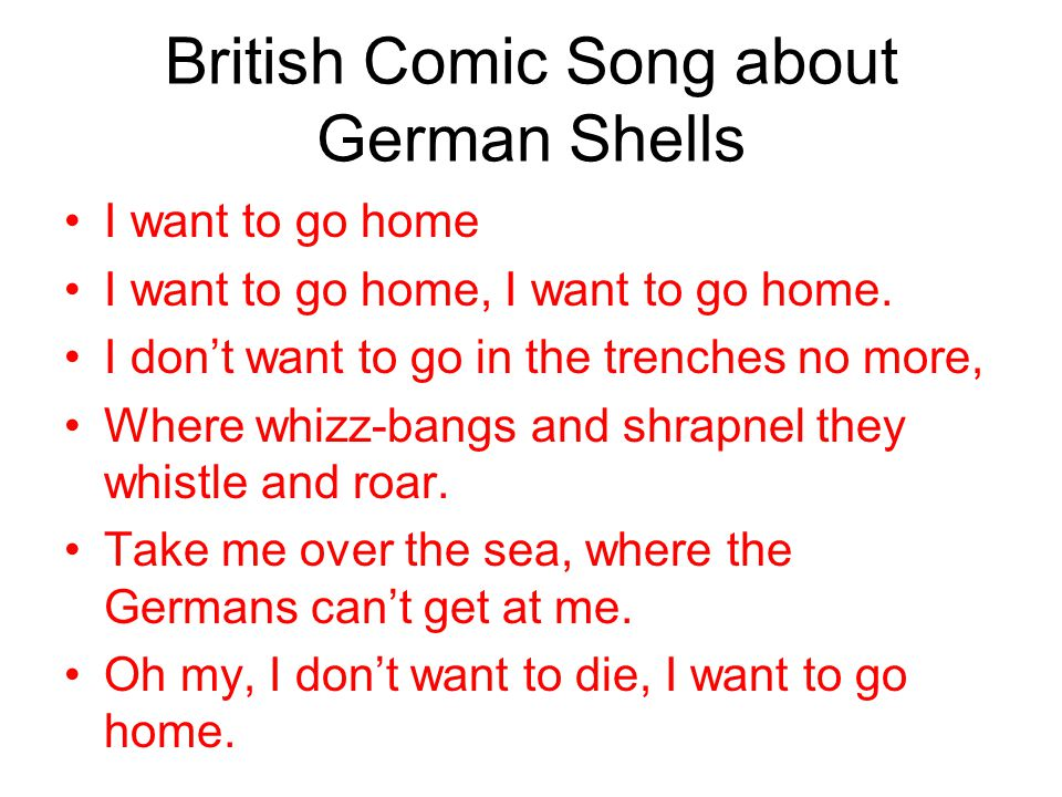 British Comic Song about German Shells