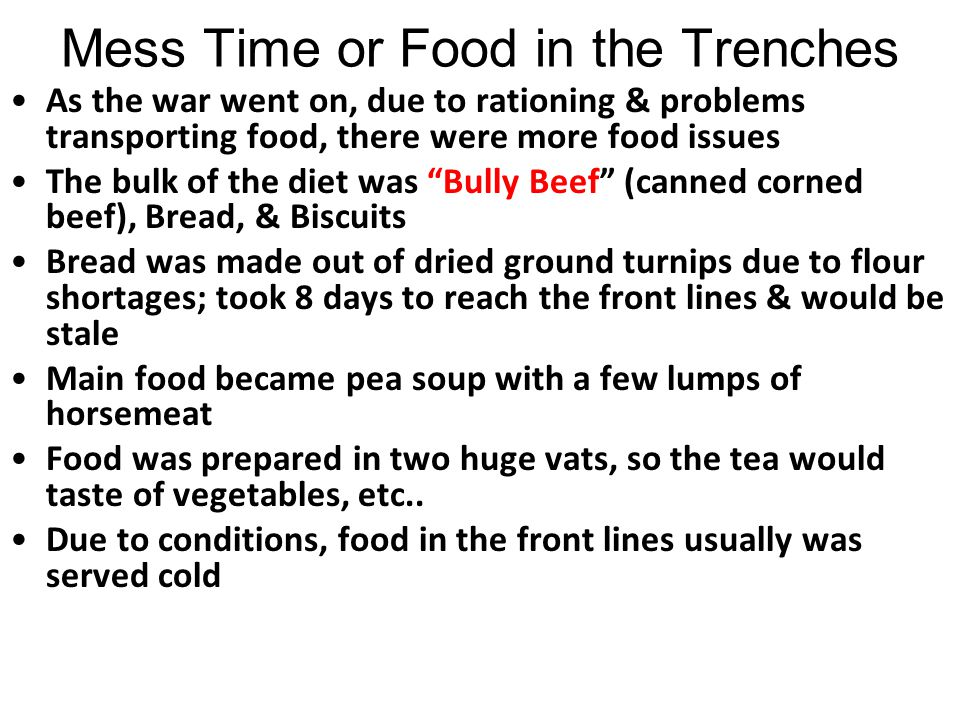 Mess Time or Food in the Trenches