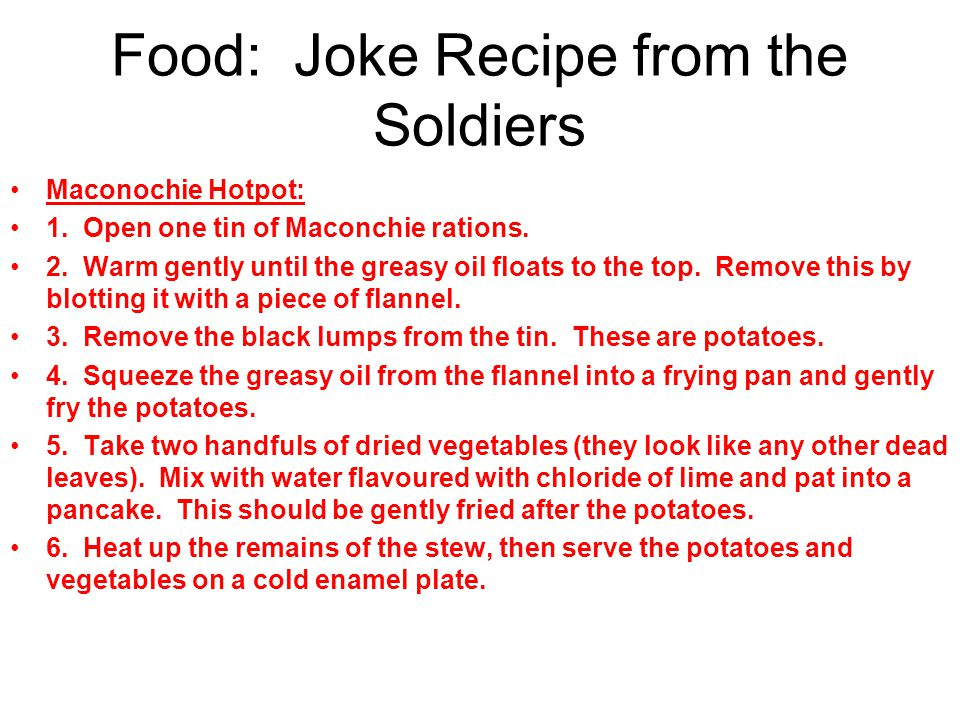 Food: Joke Recipe from the Soldiers