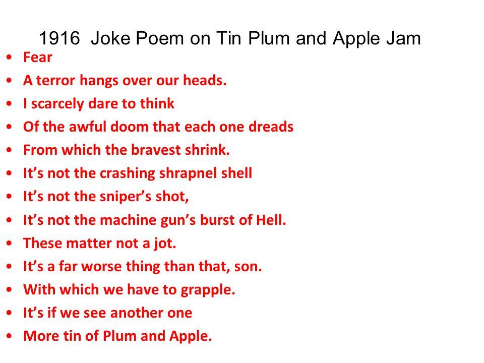 1916 Joke Poem on Tin Plum and Apple Jam