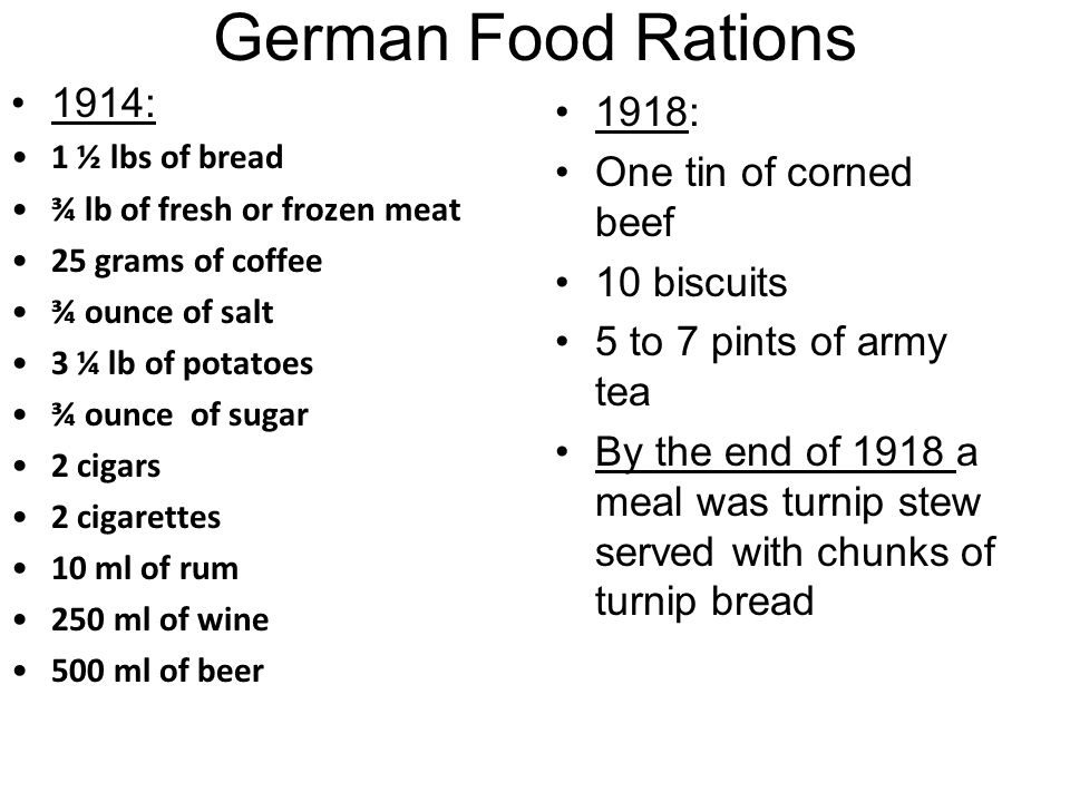 German Food Rations 1914: 1918: One tin of corned beef 10 biscuits