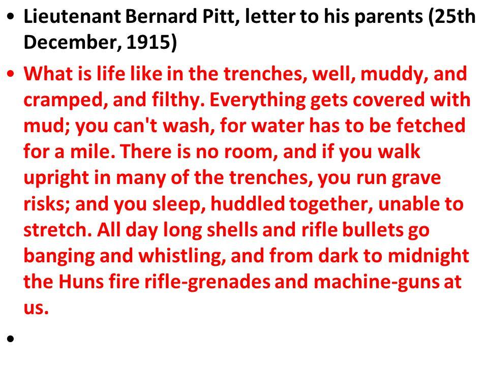 Lieutenant Bernard Pitt, letter to his parents (25th December, 1915)