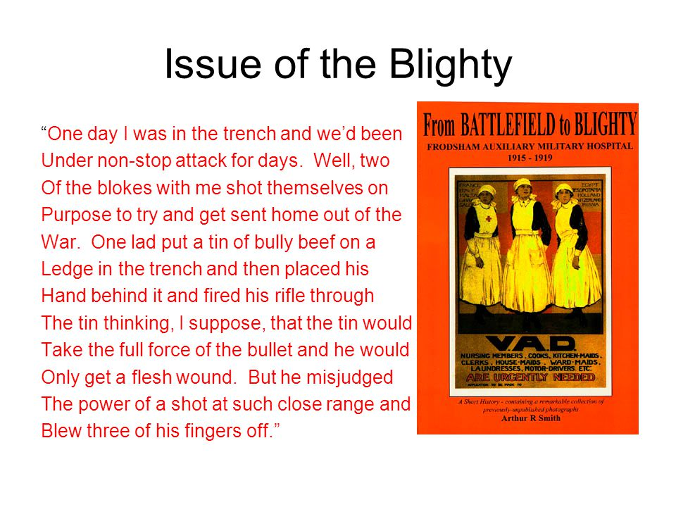 Issue of the Blighty One day I was in the trench and we'd been
