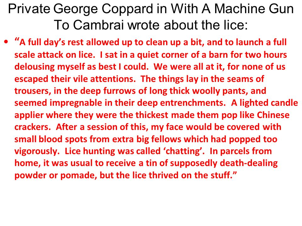 Private George Coppard in With A Machine Gun To Cambrai wrote about the lice: