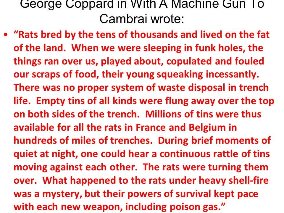 George Coppard in With A Machine Gun To Cambrai wrote: