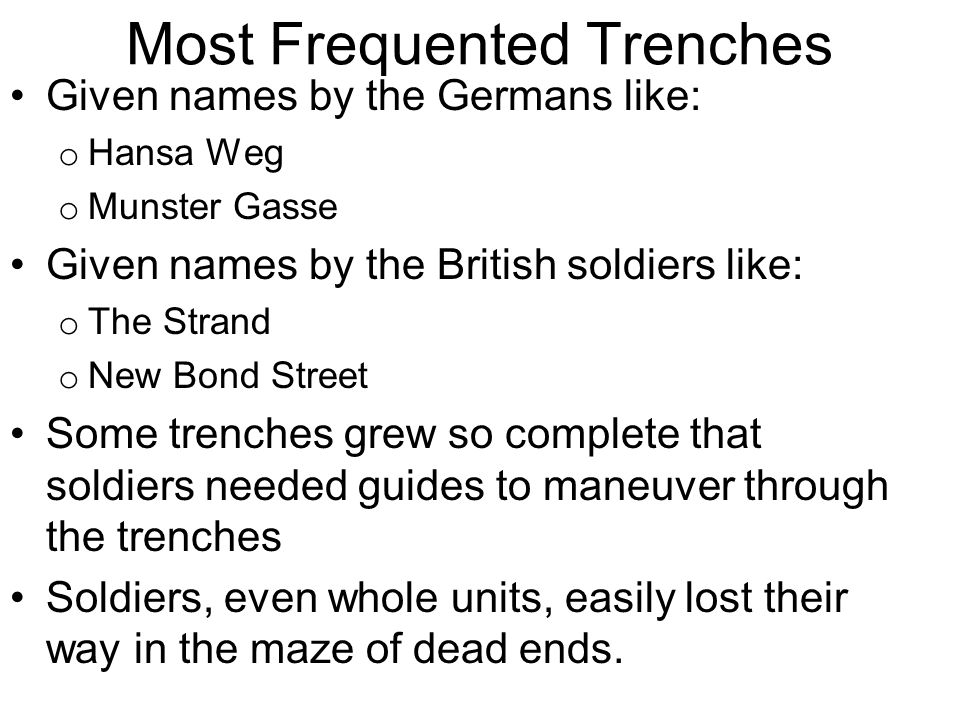 Most Frequented Trenches