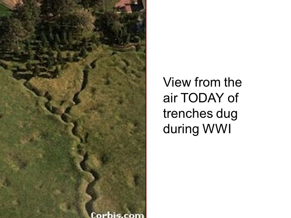 View from the air TODAY of trenches dug during WWI