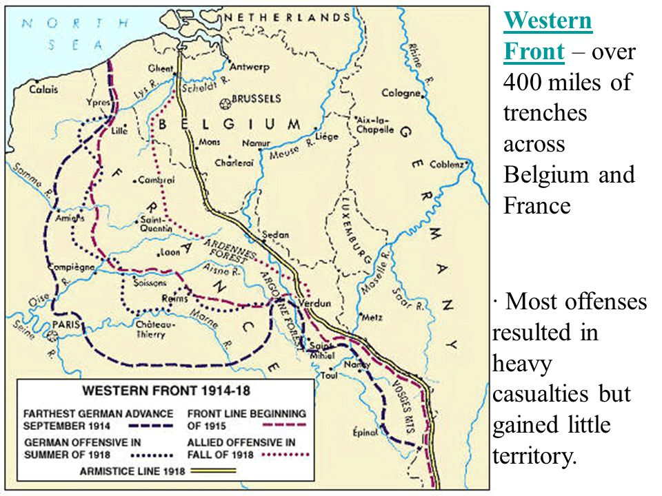 Western Front – over 400 miles of trenches across Belgium and France