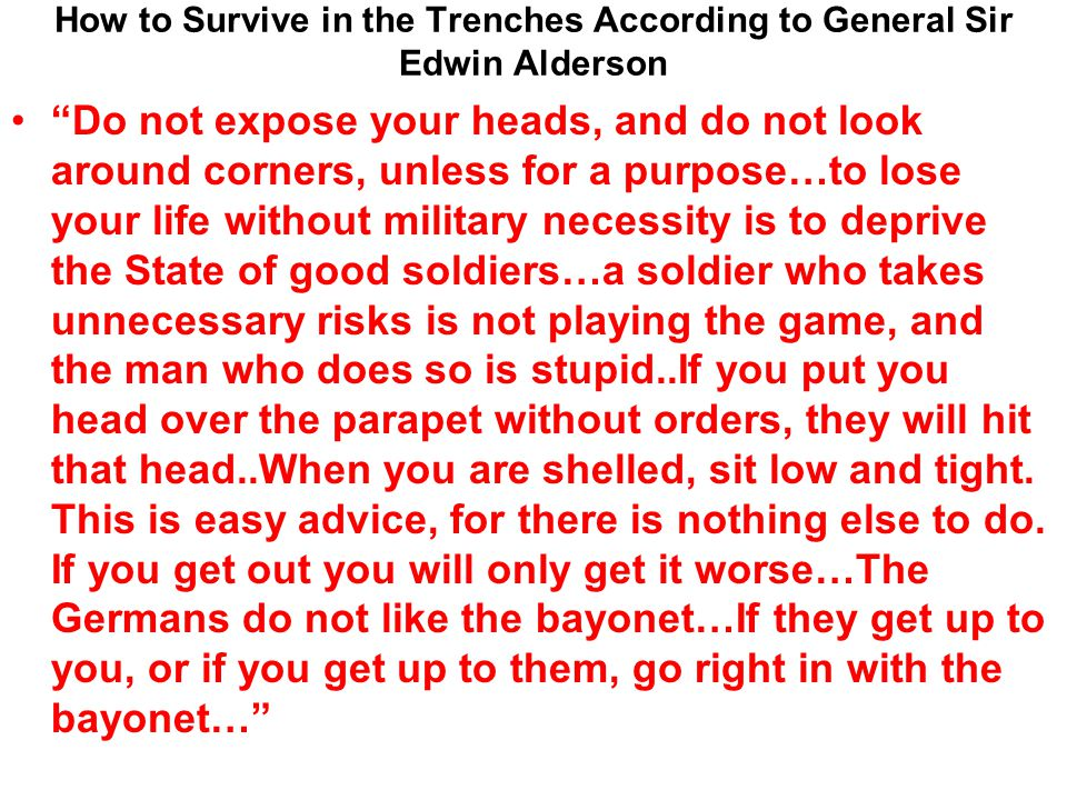 How to Survive in the Trenches According to General Sir Edwin Alderson