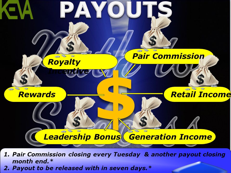 $ PAYOUTS Pair Commission Royalty Incentive Rewards Retail Income