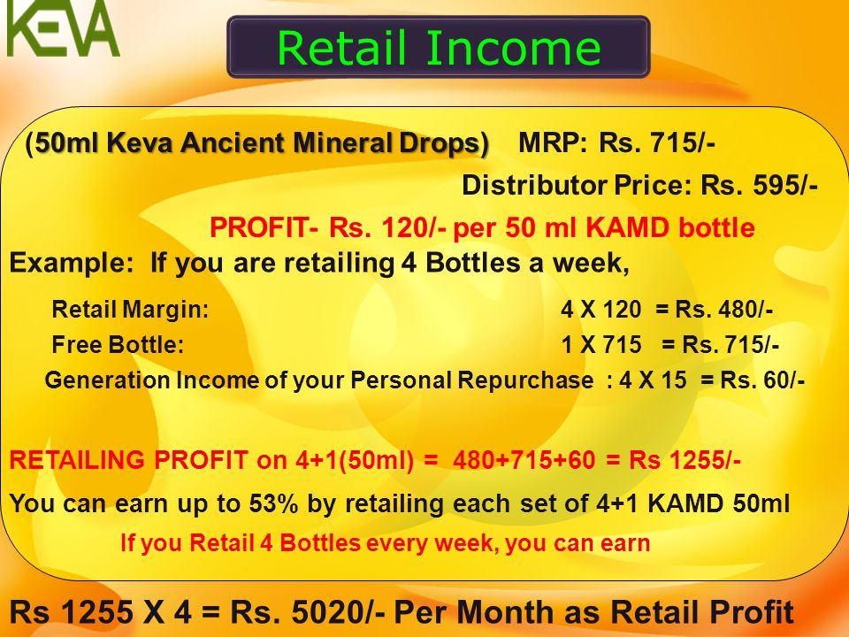 Retail Income Rs 1255 X 4 = Rs. 5020/- Per Month as Retail Profit