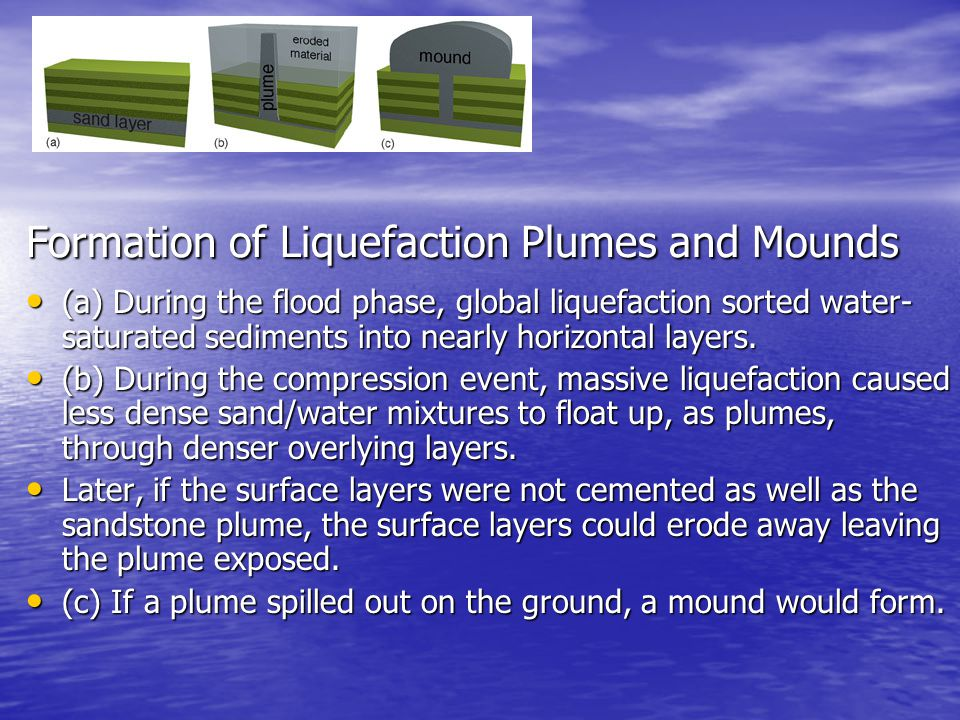 Formation of Liquefaction Plumes and Mounds