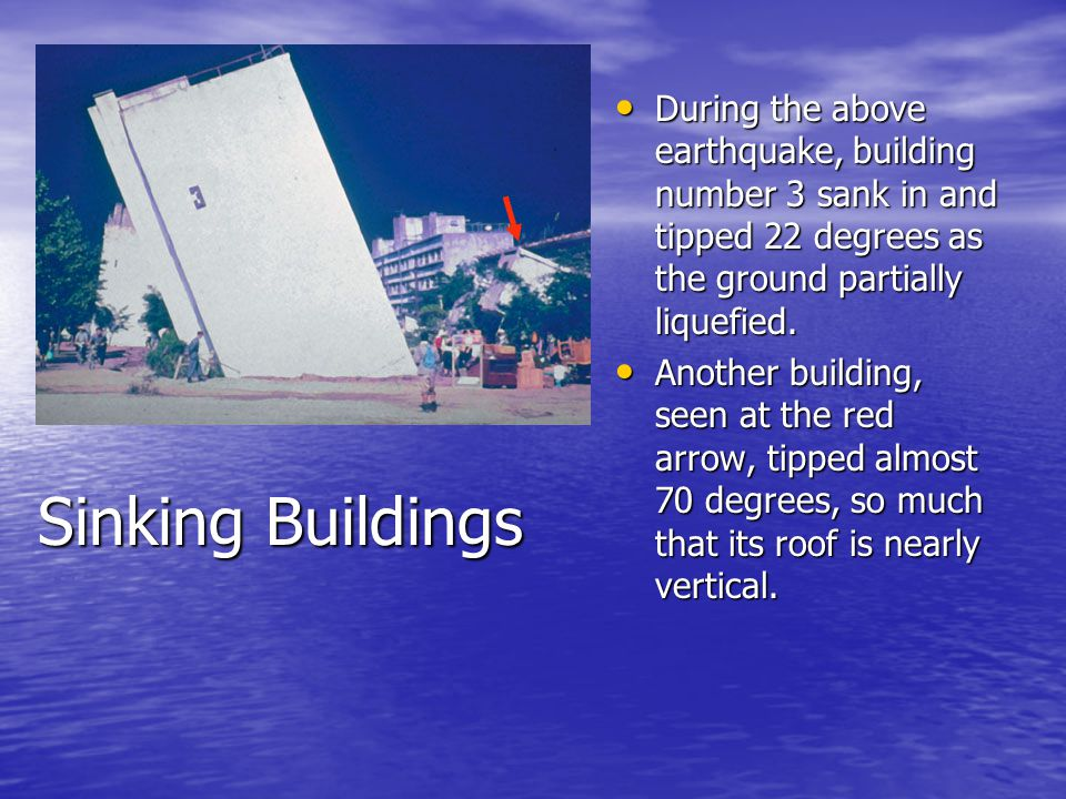 During the above earthquake, building number 3 sank in and tipped 22 degrees as the ground partially liquefied.