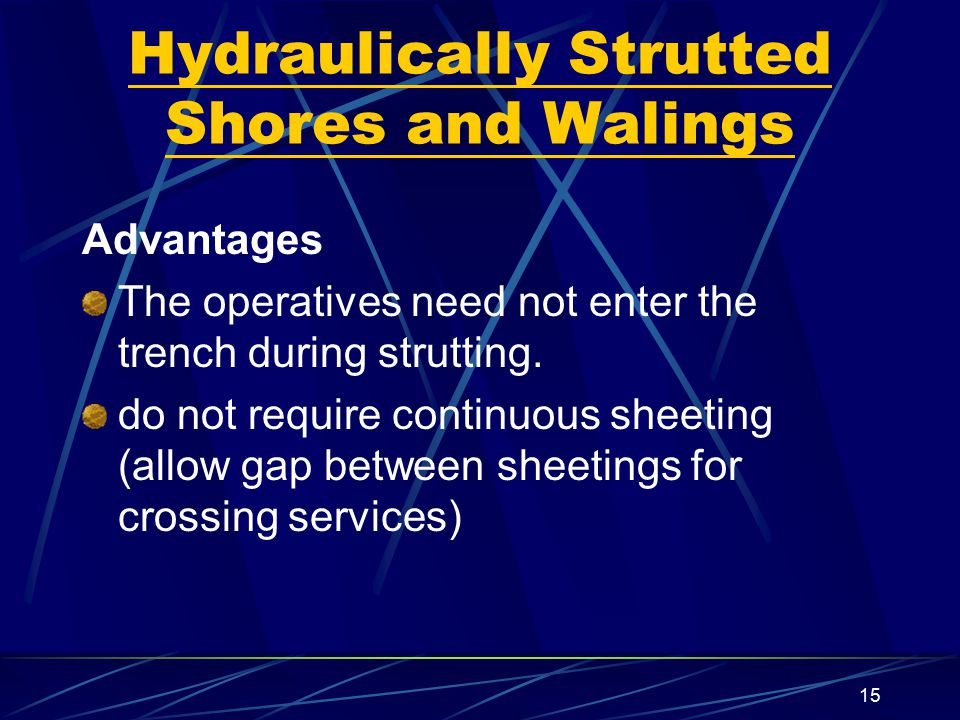 Hydraulically Strutted Shores and Walings