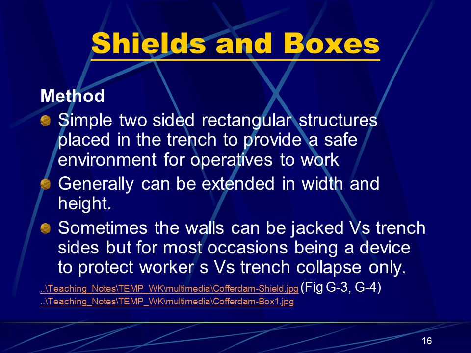 Shields and Boxes Method