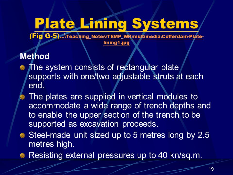 Plate Lining Systems (Fig G-5)